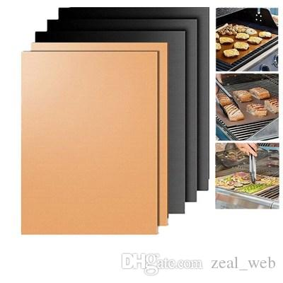 2020 new Copper Grill Mat and Bake Mat Non Stick BBQ Grill Baking Mats baking pans Reusable, Easy to Clean