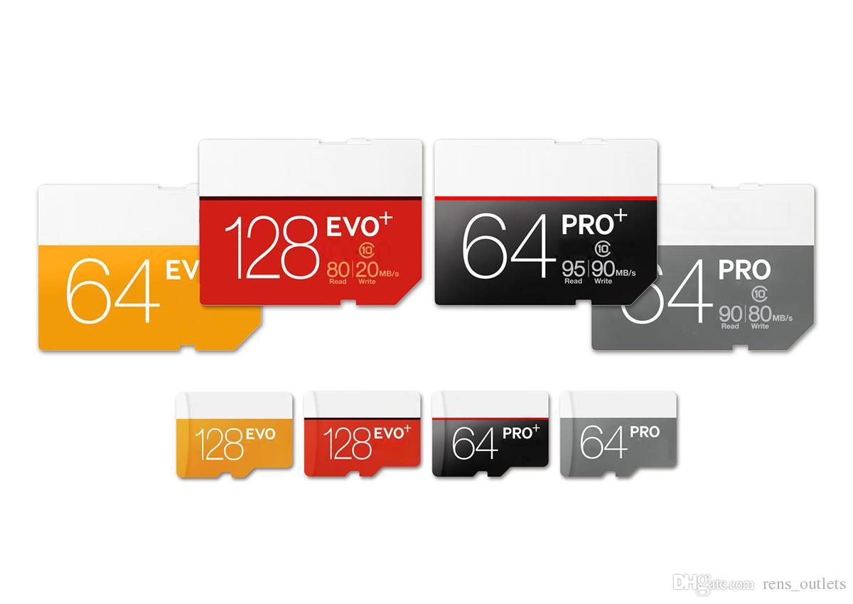 SD 어댑터 소매 포장과 태블릿 PC 디지털 카메라 스마트 폰 2020 새로운 도착 16기가바이트 32기가바이트 64기가바이트 프로 CLASS10 TF 플래시 카드