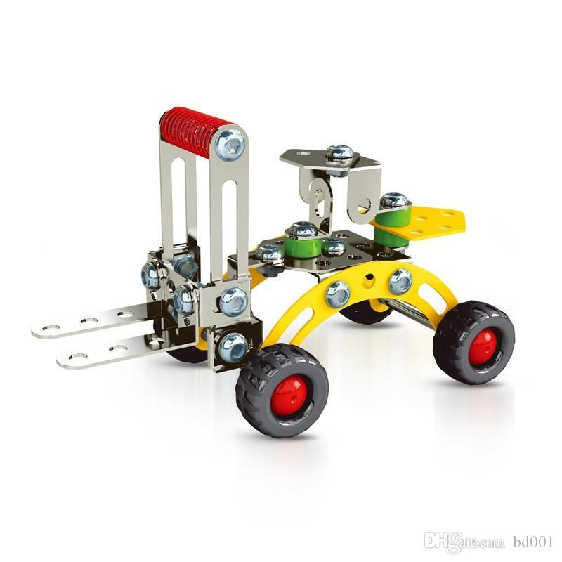 Novelty Toy Bricks Training Children Hands On Ability Building Blocks Metal Aircraft Lift Truck Model 3D Assembly Toys 6ym ff