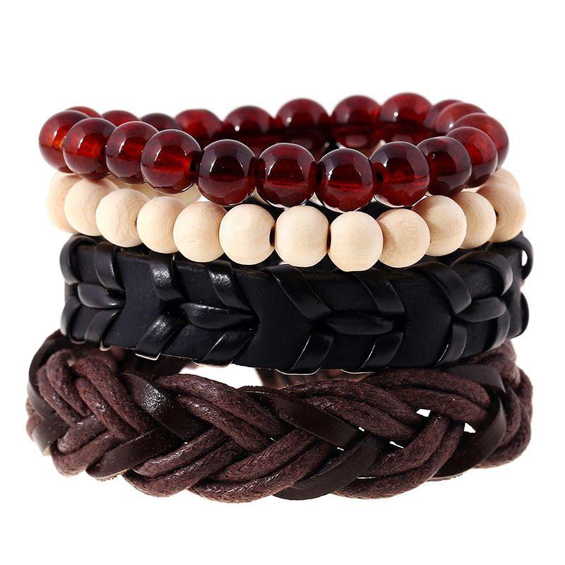 Chaomo ювелирные изделия ручной работы простой ретро тканые кожаный браслет бусины передачи подарок