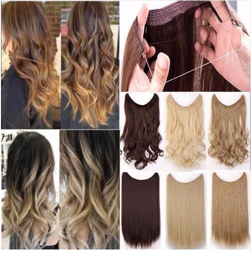 Pince synthétique longue fibre haute température soyeuse haute température soyeuse dans le clip de postiche de cheveux dans les extensions de cheveux