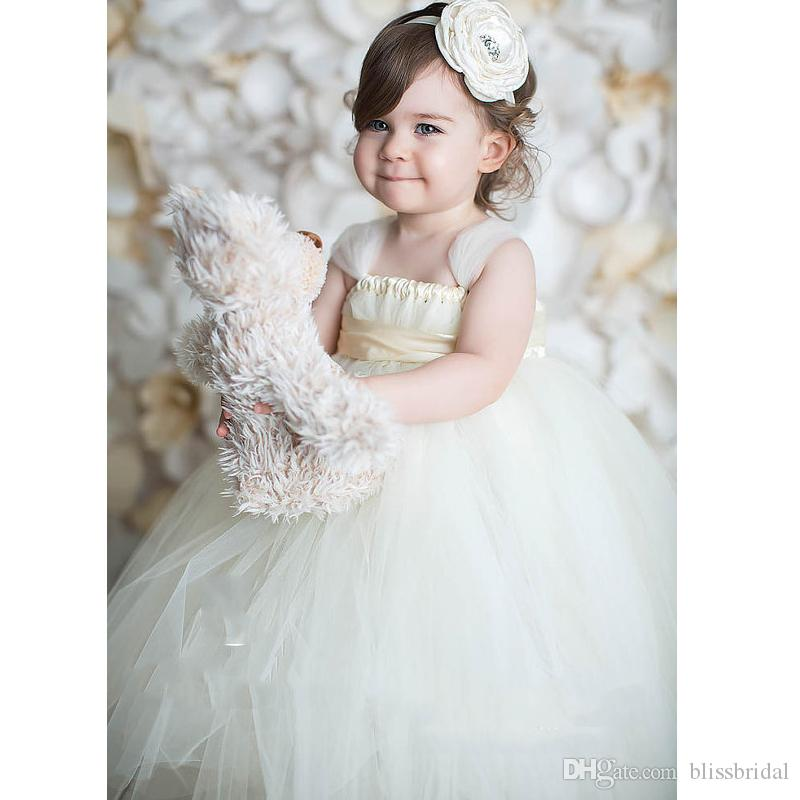 Spaghetti A-Line Tulle Ruffle Flower Girls Dresses Bow Sash Tiered Kids Formal Wear 2019 Ankle-Length Girls Pageant Dresses