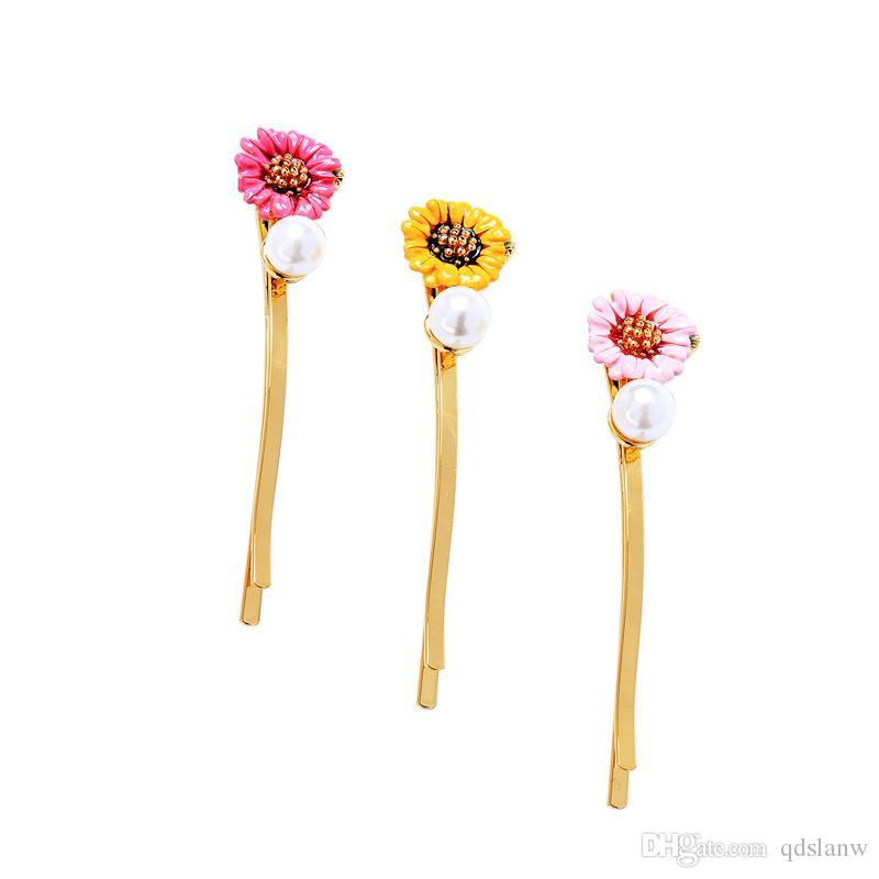 Slanw fashion gold color alloy Camellia flower charm imitation round pearl women hair pin hairpin joker Korean style hair accessories pins