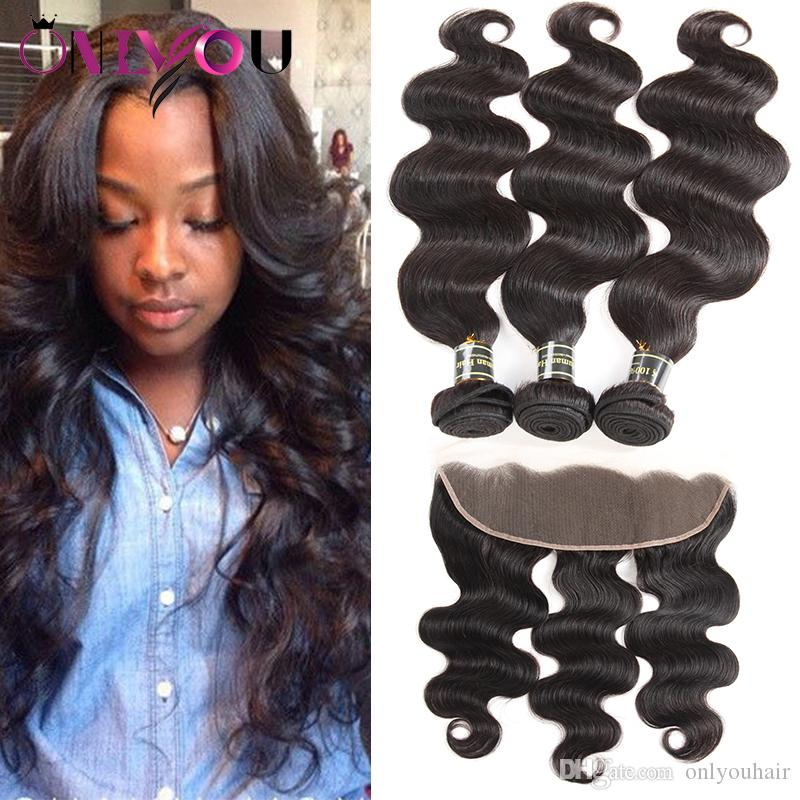 Unprocessed Peruvian Tissage Body Wave Hair Weaves Remy Human Tape Hair Extensions 3 Bundles with Lace Frontal Closure Weaves Wholesale Deal