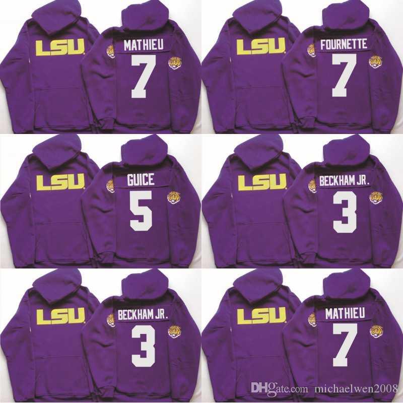 Men LSU Tigers Coollege Jersey 5 Derrius Guice 7 Tryann Mathieu 3 Odell Beckham Jr. 7 Leonard Fournette Jerseys Hoodies Sweatshirts
