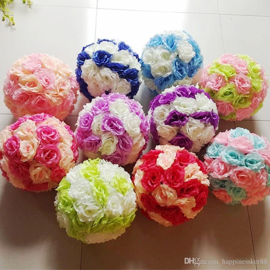 15cm Artificial Silk Rose Pomander Flower Balls Wedding Party Bouquet Home Decoration Ornament Kissing Ball New