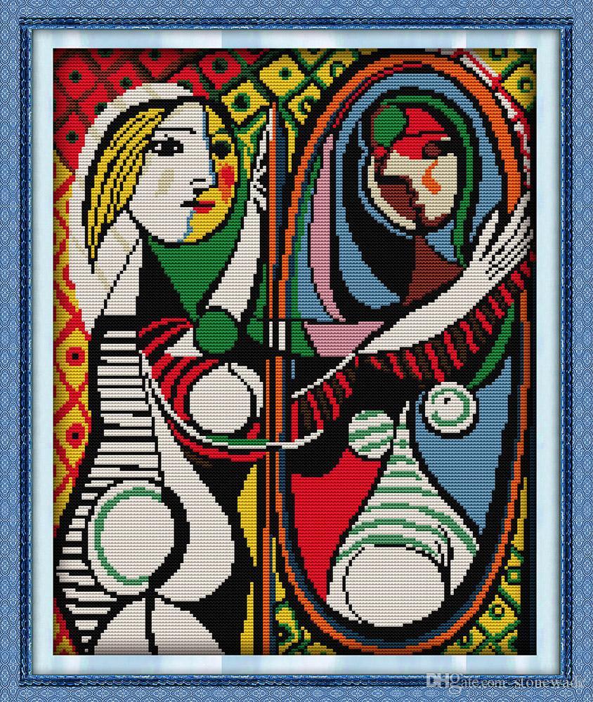Picasso's Lustro Decor Maleries, Handmade Cross Stitch Hafty Robótki Zestawy liczone na płótnie DMC 14CT / 11CT