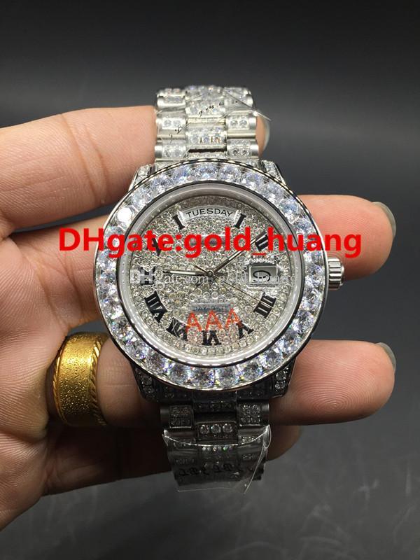 كامل الماس تاريخ اليوم مدي كبير الساعات الفاخرة التلقائية الرجال العلامة التجارية الماس والساعات ساعة اليد وجه كل فرقة الماس 180821