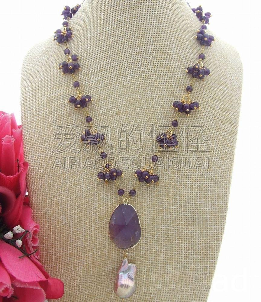 "N042714 19 ""17x29MM Keshi Pearl Purple Crystal Pendant Necklace"