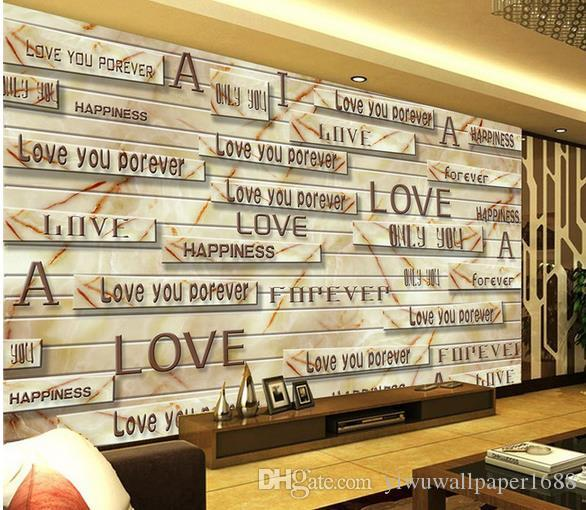 3D lettres de grain de bois en marbre solide nostalgique rétro TV fond mur salon moderne fonds d'écran
