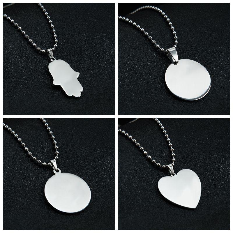 Blank forma rotonda Collana in acciaio inox Specchio Cuore polacco per le collane del regalo dei bambini Donne incisione laser fai da te