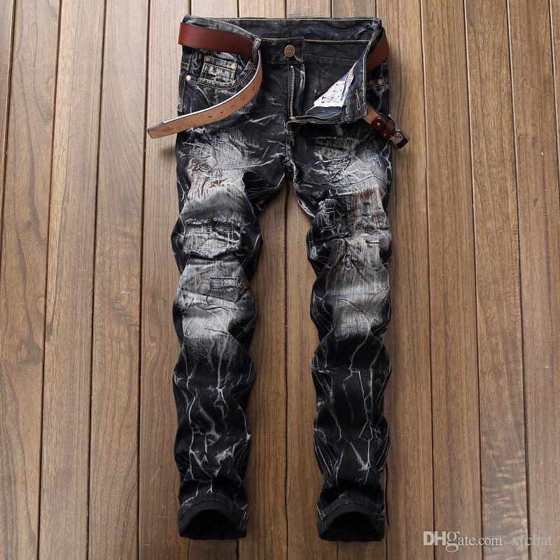 أزياء رجالي جينز أسود مصمم التعادل صبغ خدش مستقيم الساق الدينيم السراويل يتأهل السائق الهيب هوب trousres JB9890
