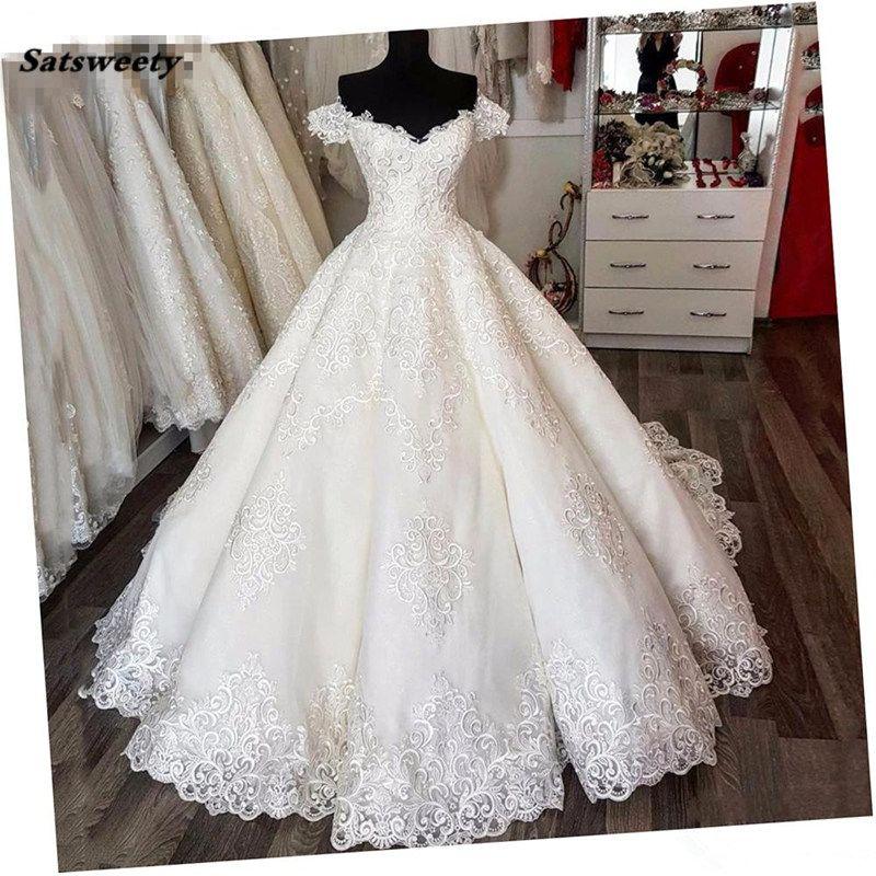Saudi Arabic Vintage Lace Puffy Wedding Dresses Empire Puffy Bridal Gowns V-neck Lace Up Vestido De Noiva Casamento Plus Size