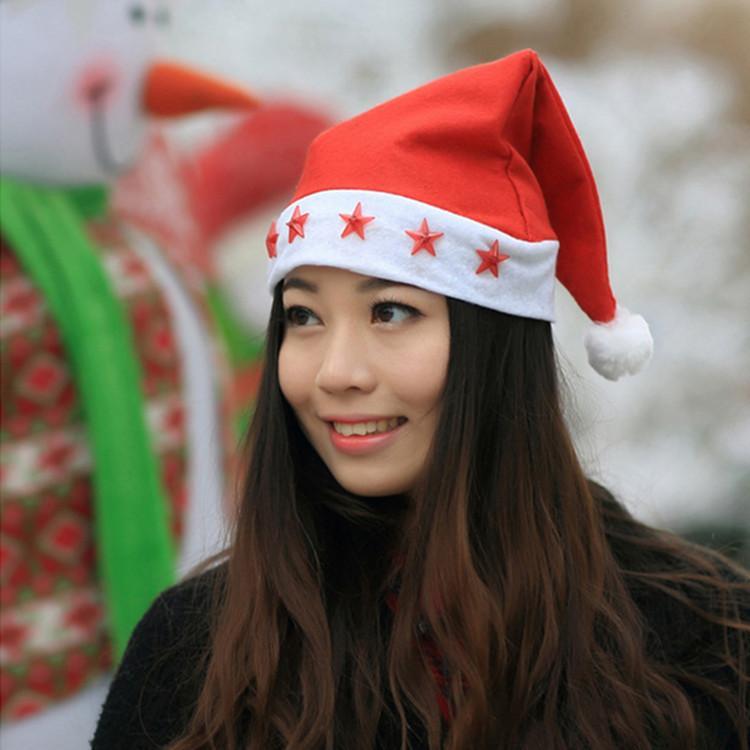 LED Christmas Hat Beanie Xmas Party Hat Glowing Luminous Led Red Flashing Star Santa Hat For Adult 120pcs T1I901