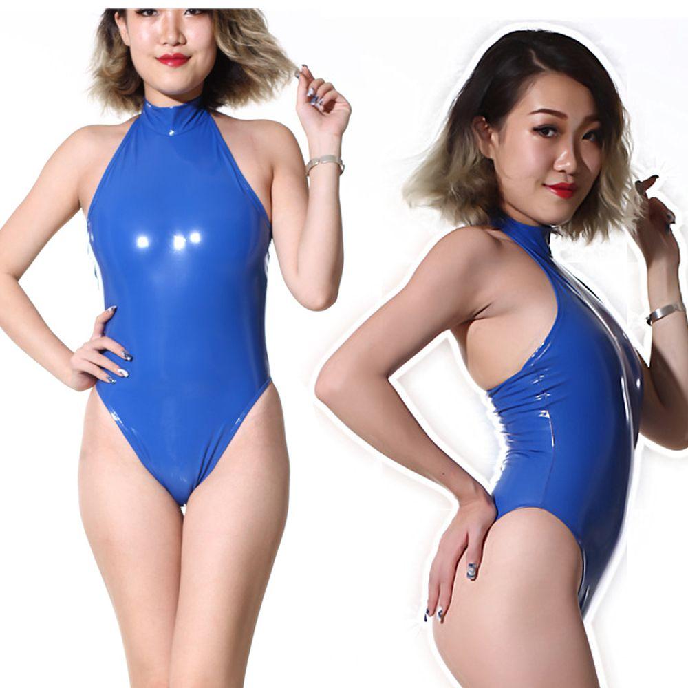 Maillot de bain coupe haute Body haut licou col en PVC brillant One Piece Maillots de bain Body Suit Latex Matt Catsuit Sexy Club Dance Wear F62 S1012