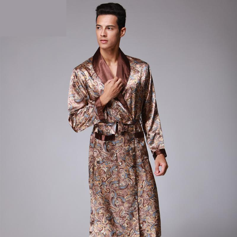 Mens Luxury Paisley Pattern Bathrobe Kimono Robes V-neck Faux Silk Male  Sleepwear Nightwear Male Satin Bath Robe