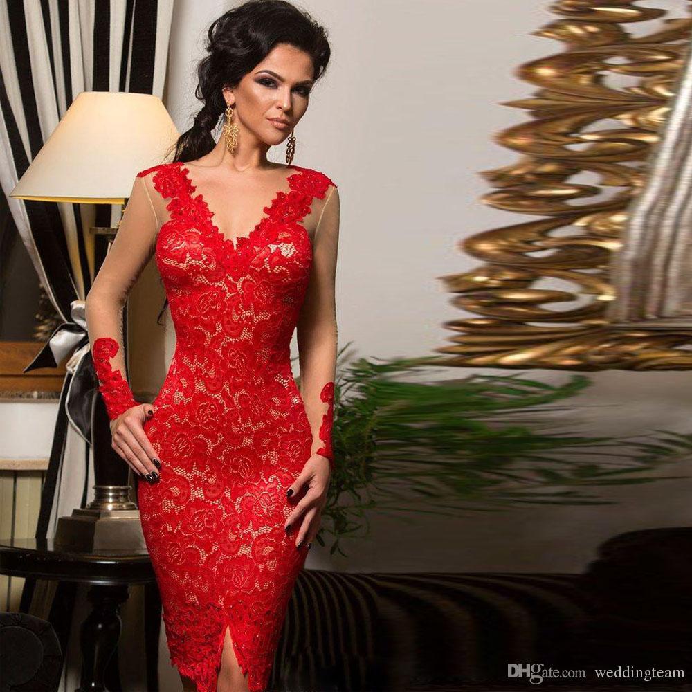 Compre Vestido De Encaje Rojo Vaina De Las Mujeres Vestidos De Fiesta Con Cuello En V Manga Larga De Encaje Ilusión Volver Ocasión Especial Vestido De