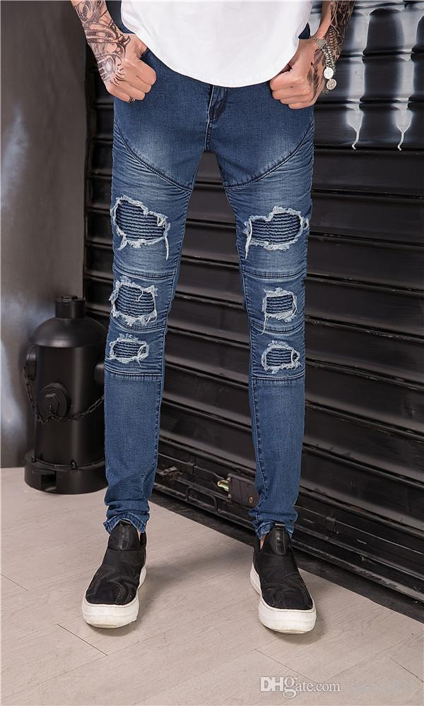 Jeans Slim Fit Moto Moto Biker Jeans Élastique Denim Hip Hop Punk Jeans J180641