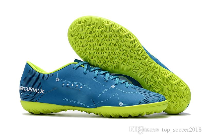 Blue Green Original Soccer Cleats Mercurical Victory VI TF SX Neymar Jr IN Indoor Soccer Shoes Top Quality Cristiano Ronaldo Football Boots