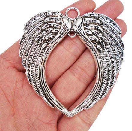 سحر 10PCS سبيكة أجنحة الملاك القلب العتيقة الفضة سحر قلادة للقلادة مجوهرات جعل نتائج 66x69mm