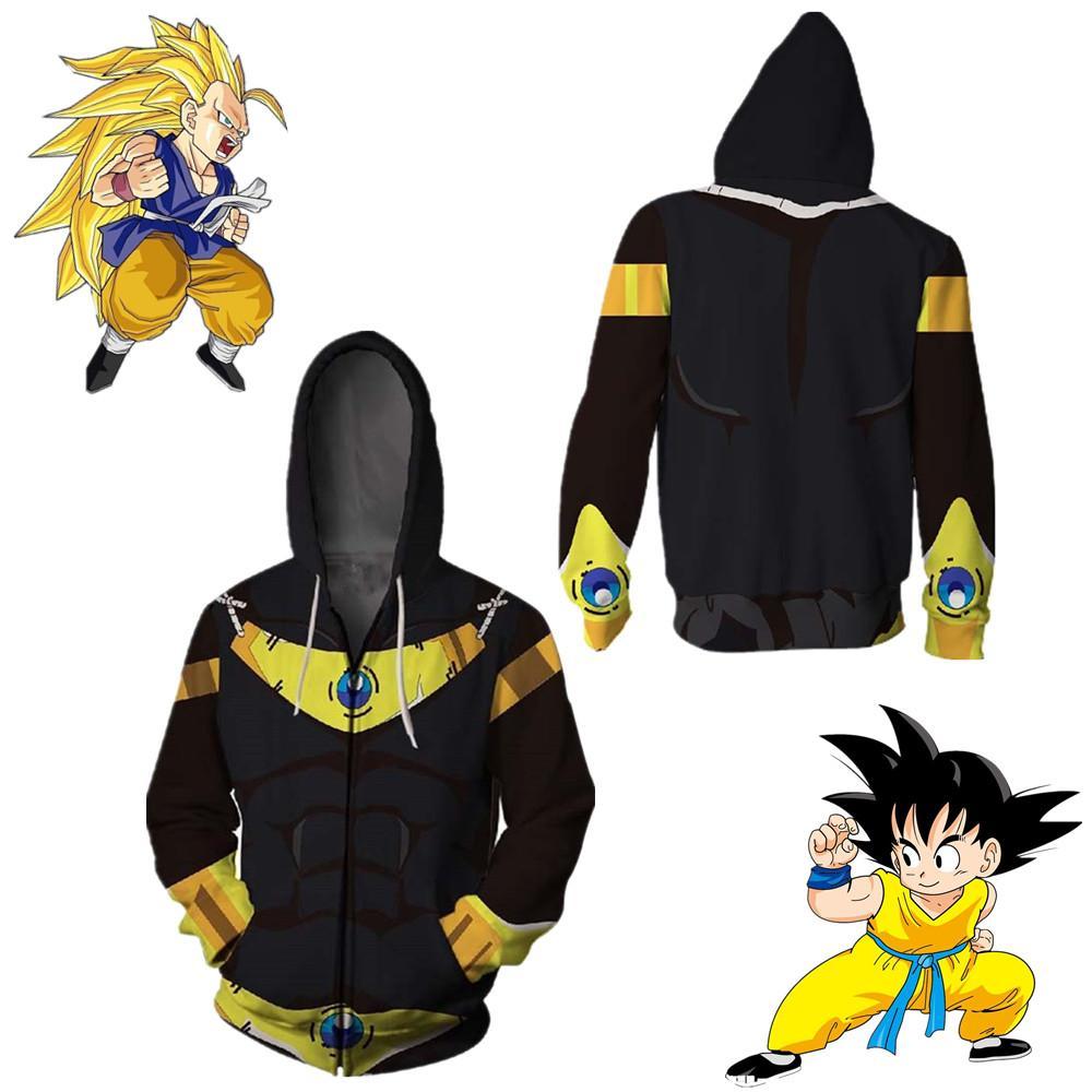 Tamanho asiático japão anime preto dragon ball filho goku halloween zipper manga comprida 3d cosplay unisex casaco traje jaqueta casual com capuz