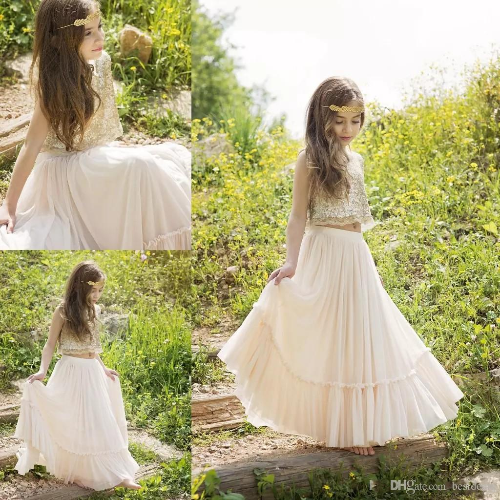 2018 Beautiful Two Pieces Boho Flower Girls Dresses Sequins Lace Chiffon Champagne Prom Pageant Dress For Teens Kids Wedding Gowns