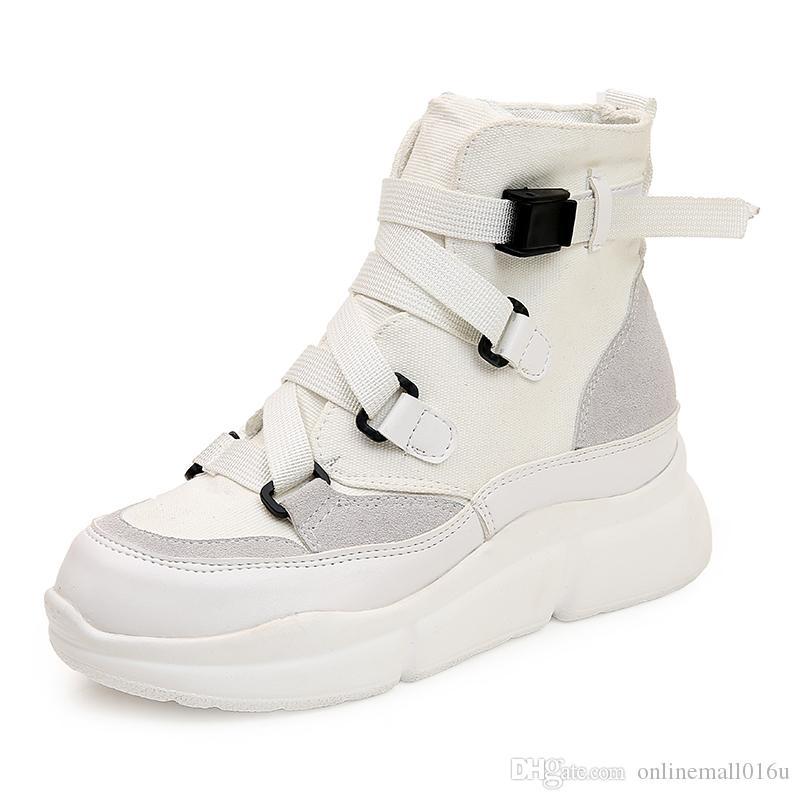 Women Arrival Canvas Ankle Boot Flat Hook Loop Platform Fashion Punk Black Shoes
