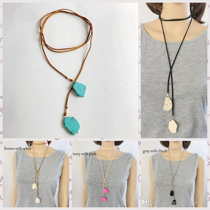 Free Shipping New Design Pendant Necklace, Natural Stone More Colors Wrap Leather Pendant Adjusted Handmade Necklace