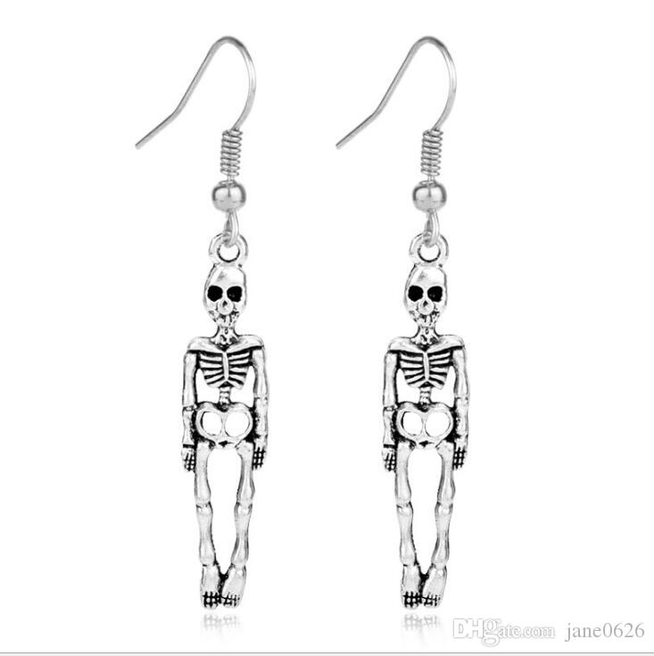 Alloy skull earrings Art Attack Silvertone Skeleton Skull & Bones Halloween Holloween Costume Goth Dangle Earrings FREE SHIPPING