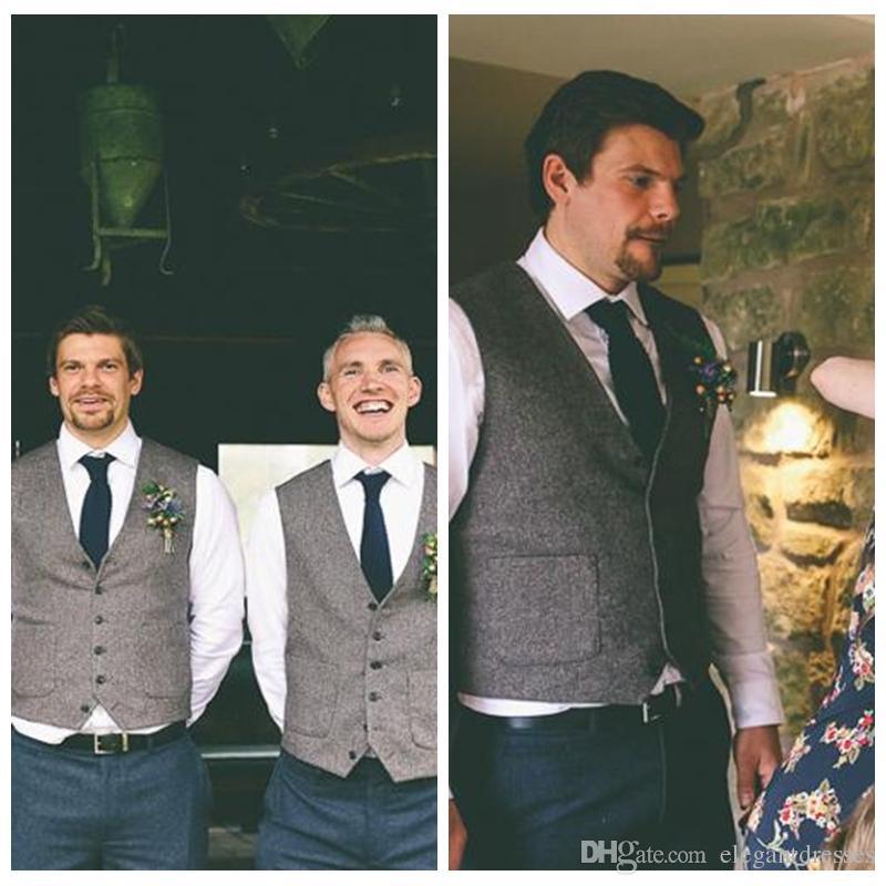 2021 Kamizelki pana młodego na wesele Kamizelki Slim Fit Męskie Kamizelki Niestandardowy Plus Rozmiar Szary Brytyjski Styl Team Groom Nosić garnitur