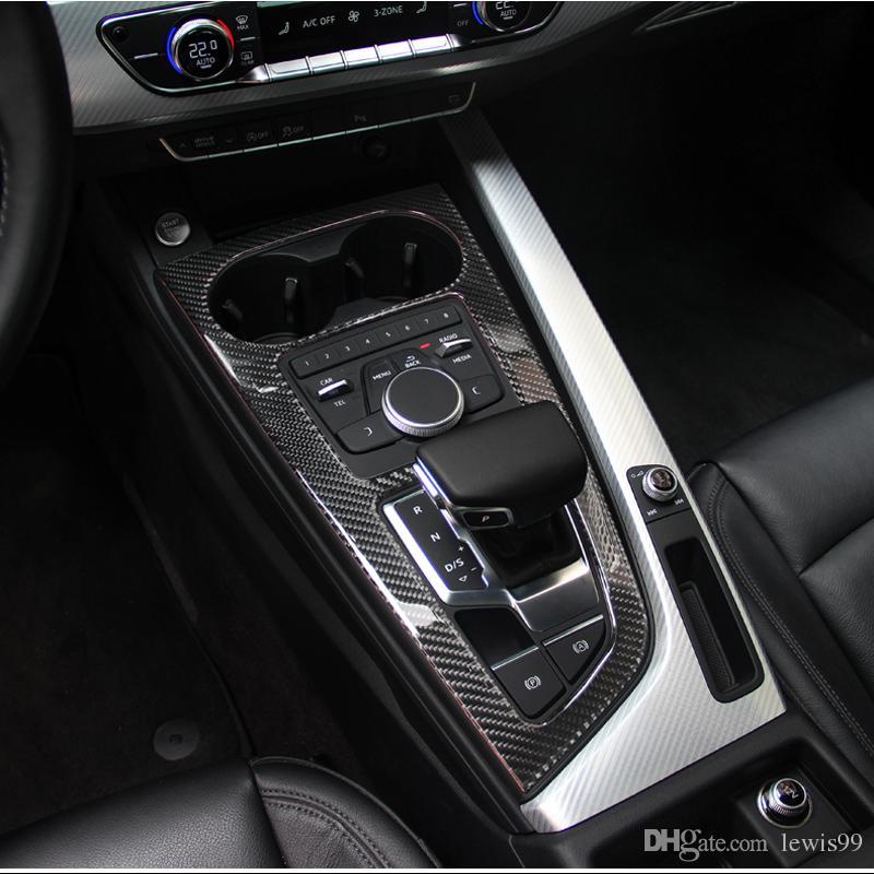 탄소 섬유 자동차 제어 기어 시프트 상자 패널 물 컵 홀더 프레임 커버 트림 액세서리 아우디 A4 A5 S5 2017 2020 자동차 - Stling B9