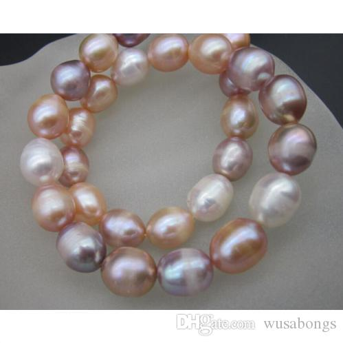 """18 """" 11-14 мм природных Южное море розовый белый фиолетовый жемчужное ожерелье 14 K желтое золото"""