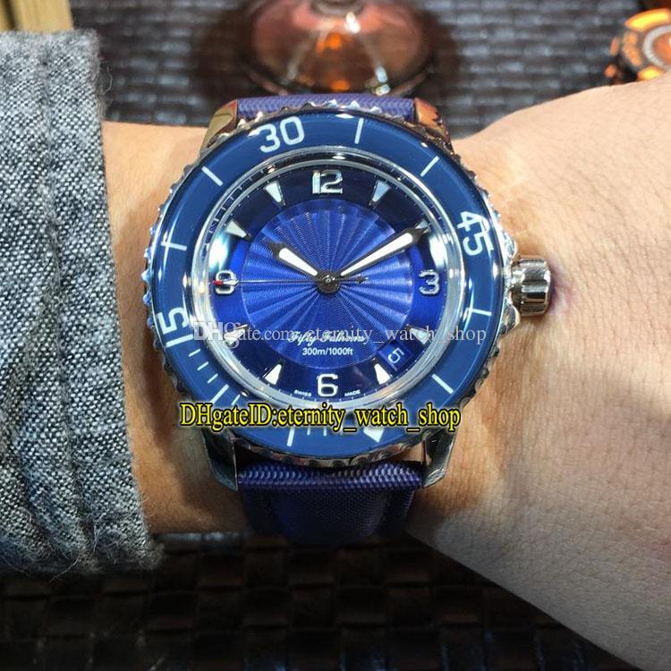 MM مصنع جديد الخمسون القامات 5015D-1140-52B الأزرق جنيف الهاتفي اليابان ميوتا التلقائية الرجال ووتش فضي حالة نايلون الألياف جلد الساعات الفرقة