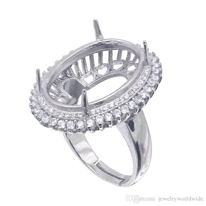 Semi Mount Ring Settings For Big Oval Stone 15x20mm With Side CZ Blank Base Solid 925 Sterling Silver Women Jewelry Bride Wedding Gifts