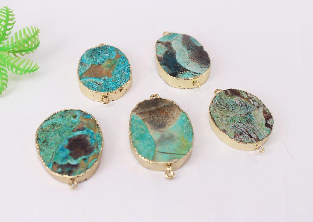 Бесплатная доставка 5 шт. позолоченные круглой формы природа океан яшма Druzy Geode разъем, Drusy Кристалл драгоценный камень кулон бусины, ювелирные изделия выводы
