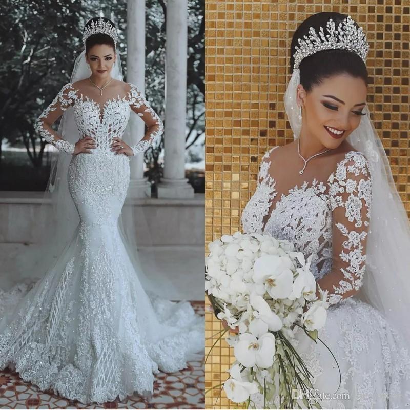 2018 Luxo Árabe Vestidos De Casamento Da Sereia Ilusão Mangas Compridas Lace Apliques De Lantejoulas Plus Size Vestidos de Noiva Vestido de Casamento Da Varredura De Noiva