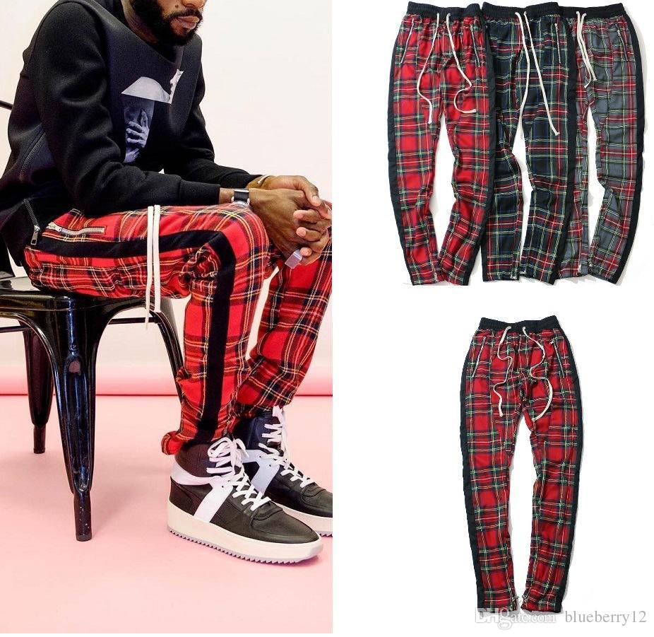 La calle principal de la vendimia de la tela escocesa del basculador de los pantalones de rayas de pantalones para los hombres FOG Slim Fit lápiz de los pantalones para hombre marca de Hip Hop de Calle
