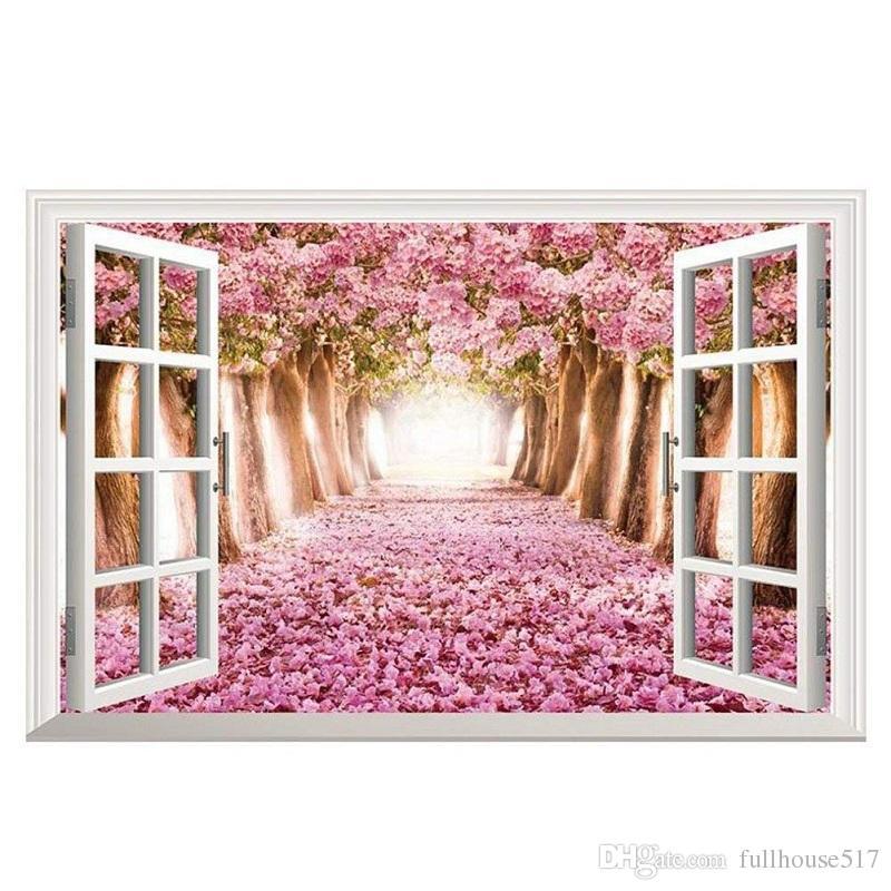 DIY Съемный 3D Cherry Blossom Поддельный Window Art Mural Винил Водонепроницаемая стены стикеры Детская комната Декор Детская стикера Wallpaper
