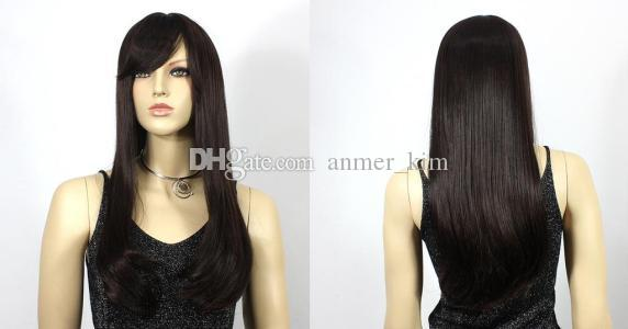 Nature bangs tangle free beautiful long 100% unprocessed virgin remy human hair natural color natural straight full lace cap wig for girl