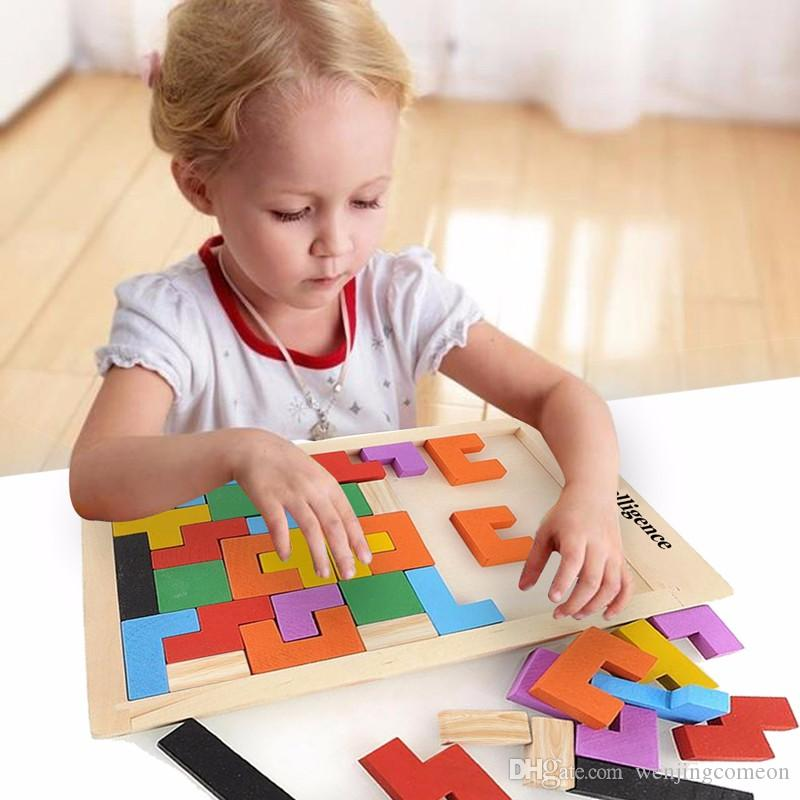Children Wooden Tangram Teaser Toys Tetris Game Educational Kids Boys Girls Toy