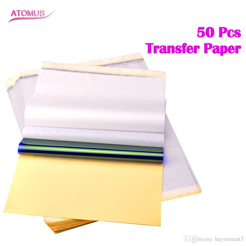 50 adet Dövme Stencil Transfer Kağıdı A4 Boyutu Termal Fotokopi Kağıt Malzemeleri Dövme Aksesuarları Dövme Kaynağı Ücretsiz Nakliye Için
