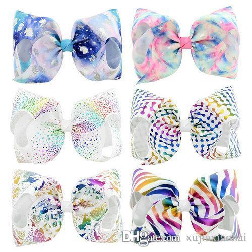 귀여운 Jojo Siwa 8 인치 kawaii 금테 유니콘 큰 bowknot 아기 머리핀 다양 한 색상 인쇄 hairclip 어린이 헤어 액세서리