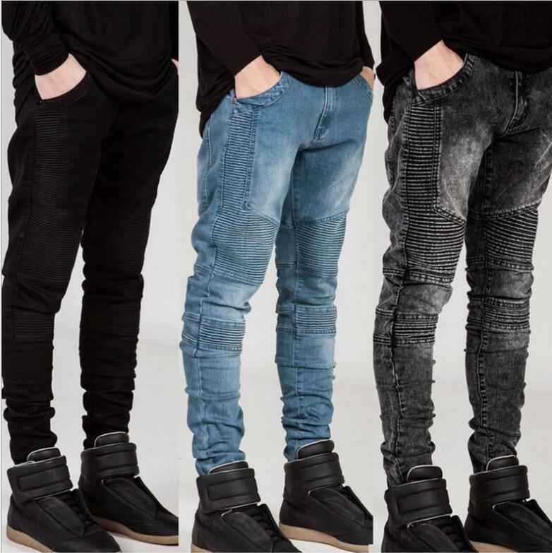 Man Jeans Runway Slim Racer Biker Jeans Fashion Hip Hop Skinny Jean For Men Free Shipping