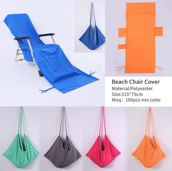 215*75cm Microfiber Beach Chair Cover Beach Towel Pool Lounge Chair Cover Blankets Portable With Strap Beach Towels Double Layer Blanket WX1