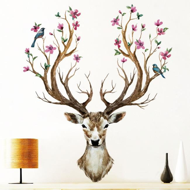 Venta al por mayor 1 UNIDS Navidad Reno DIY Arte Etiqueta de La Pared para la Sala de estar Sika Deer Calcomanías Decoración para el hogar