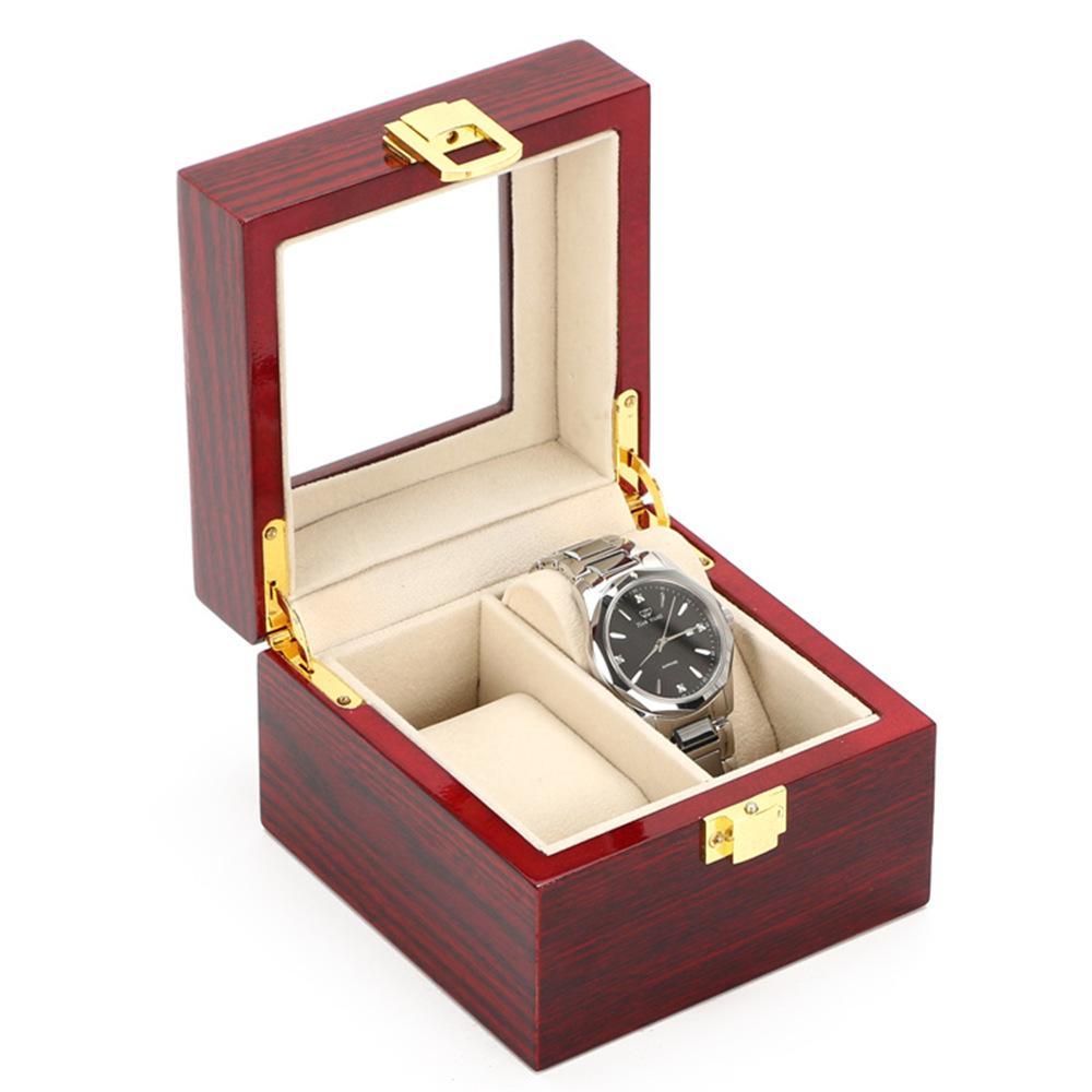Caixa de presente de madeira do armazenamento do relógio da madeira do MDF da cor vermelha Caixa de presente de embalagem de madeira do indicador da luz do relógio da embalagem alta da madeira para homens