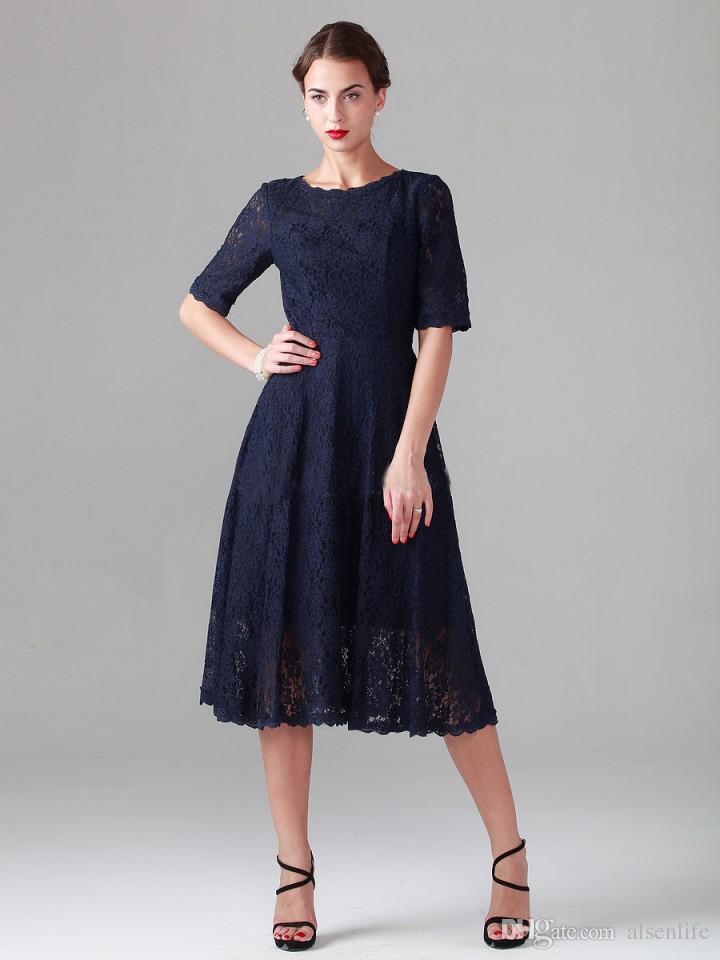 Marinha azul chá de comprimento lace mãe dos vestidos de noiva meia manga longa da praia do vintage dama de honra vestidos de festa de noite