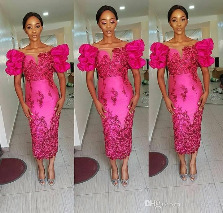Sheath Fuchsia Short Evening Dresses Lace Applique African Nigerian Lace Dress Indian Prom Dress Dresses Evening Wear