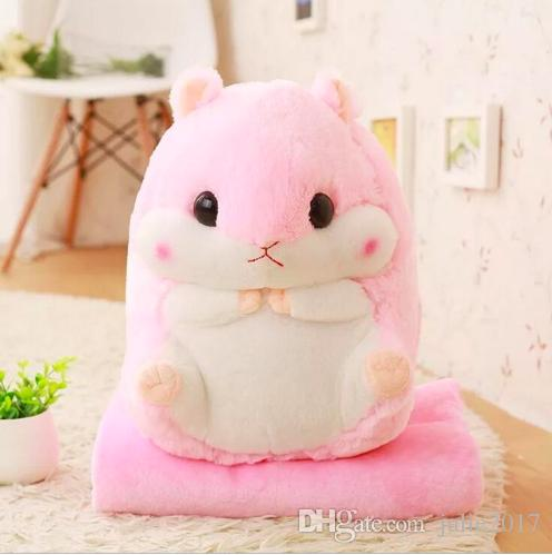 Lovely Plush doll 1pc 50cm hamster squirrel warm rest office cushion + blanket high quality stuffed toy romantic gift for baby