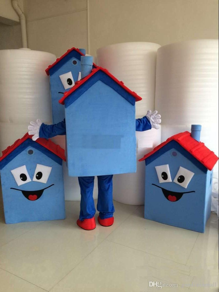 2018 горячие продажи новый синий дом костюм талисмана 100% высокое качество дом костюм партии карнавал необычные платья костюм